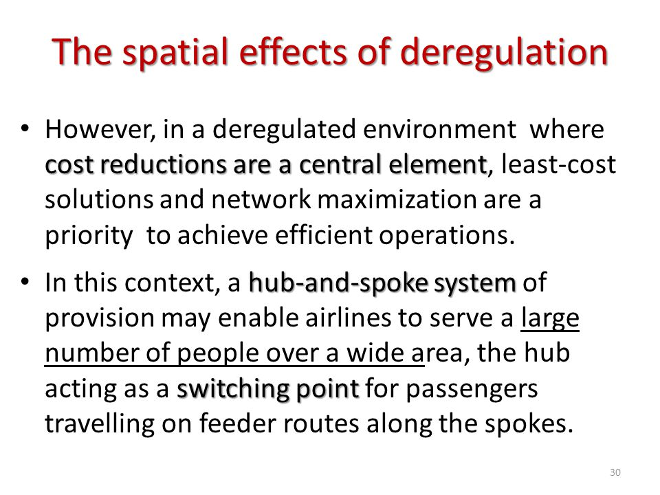 The spatial effects of deregulation