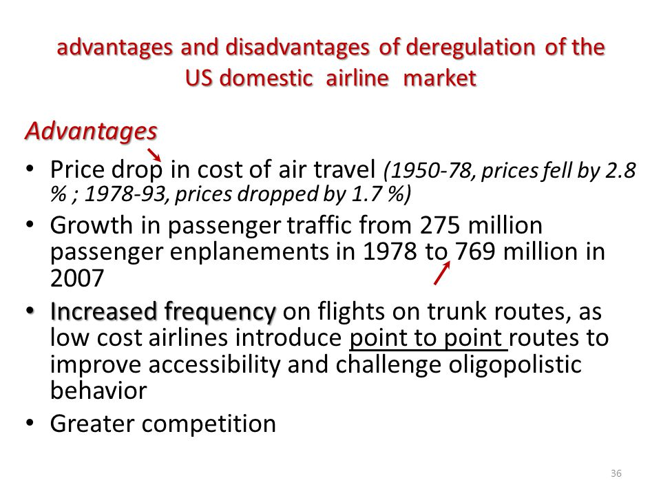 advantages and disadvantages of deregulation of the US domestic airline market