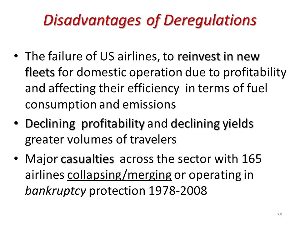 Disadvantages of Deregulations
