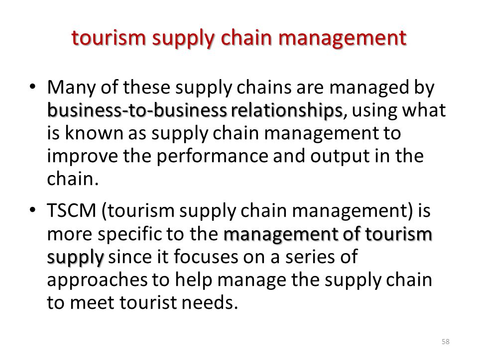 tourism supply chain management