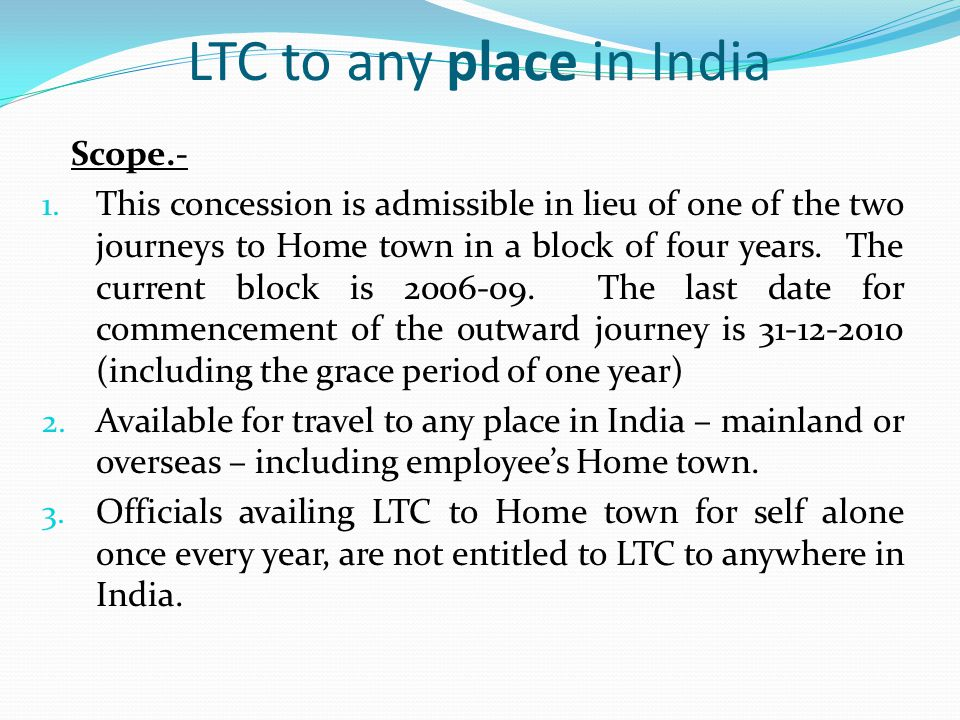 LTC to any place in India