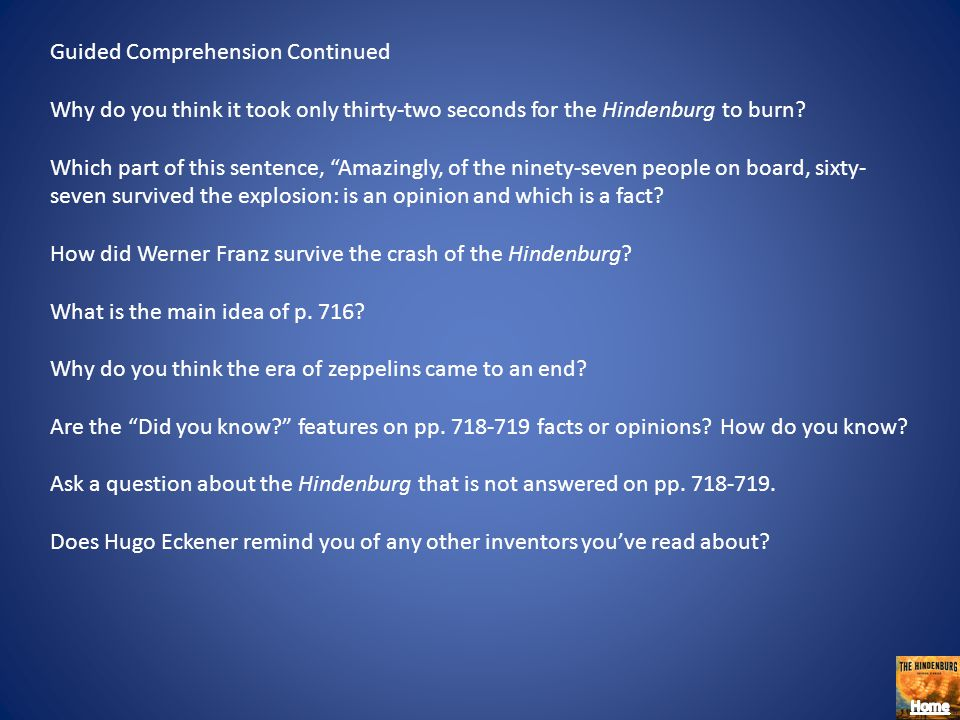 Guided Comprehension Continued
