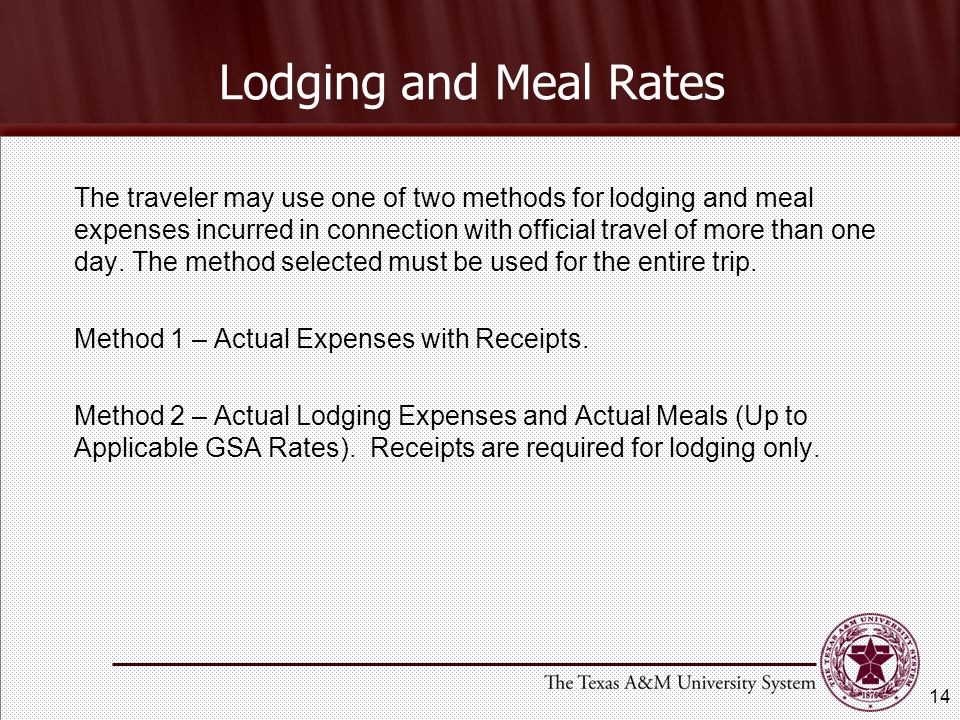 Lodging and Meal Rates