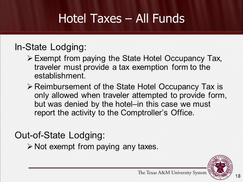 Hotel Taxes – All Funds In-State Lodging: Out-of-State Lodging: