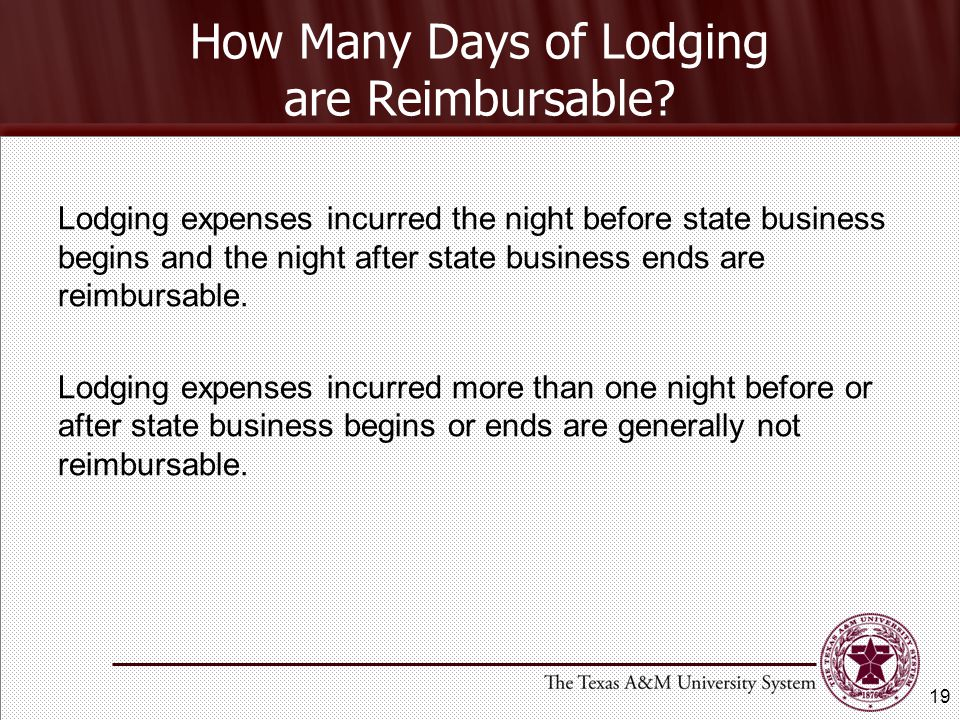 How Many Days of Lodging are Reimbursable