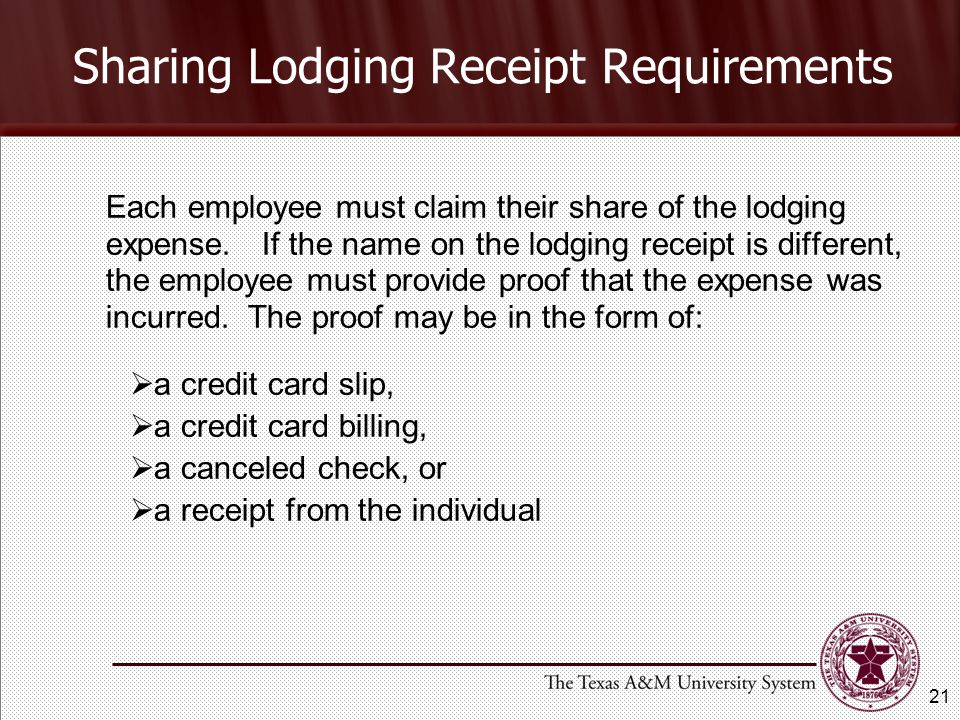 Sharing Lodging Receipt Requirements