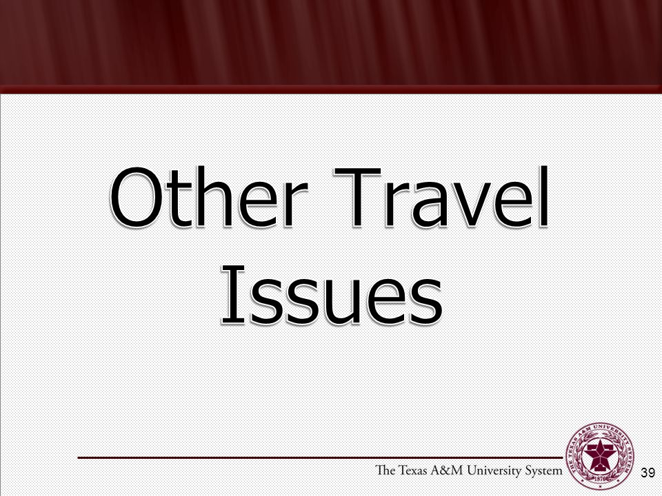 Other Travel Issues