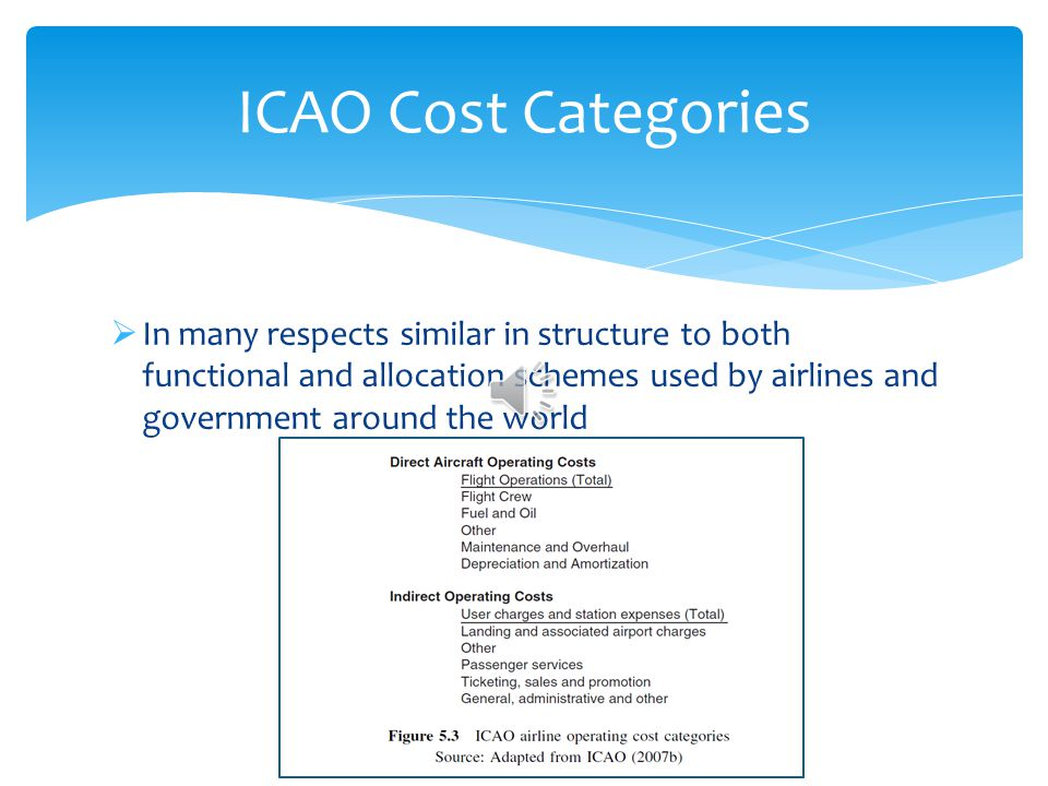 ICAO Cost Categories In many respects similar in structure to both functional and allocation schemes used by airlines and government around the world.