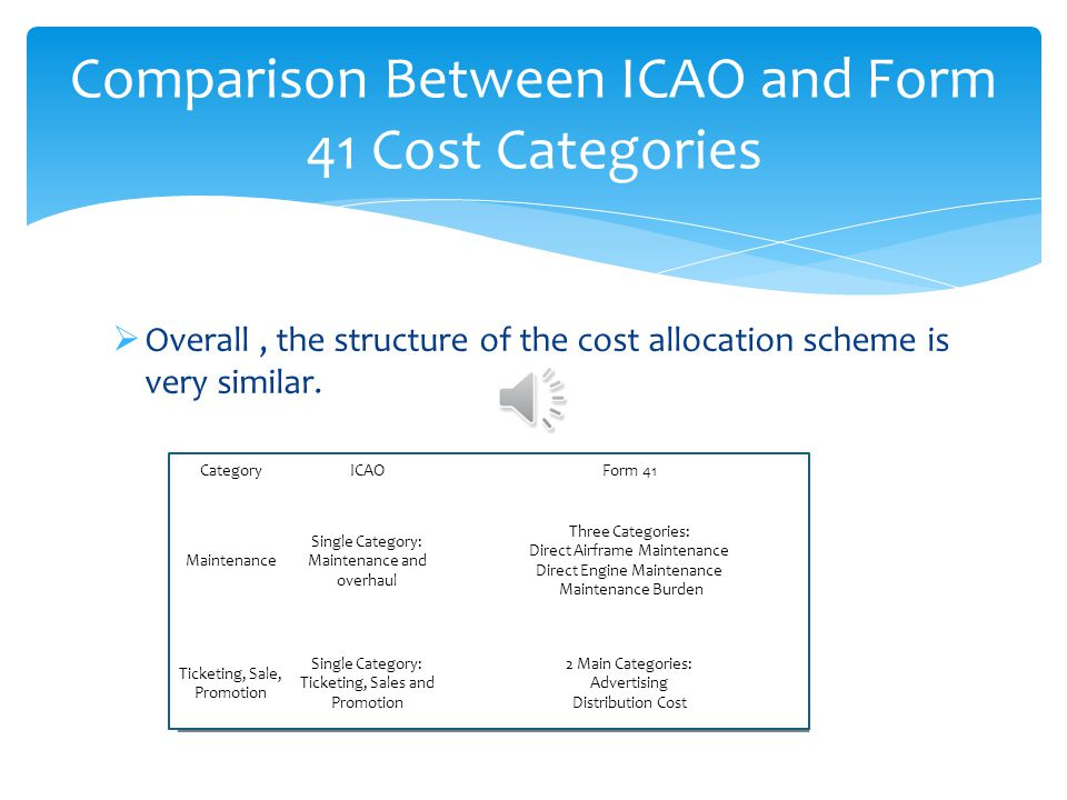Comparison Between ICAO and Form 41 Cost Categories
