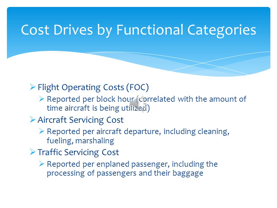 Cost Drives by Functional Categories