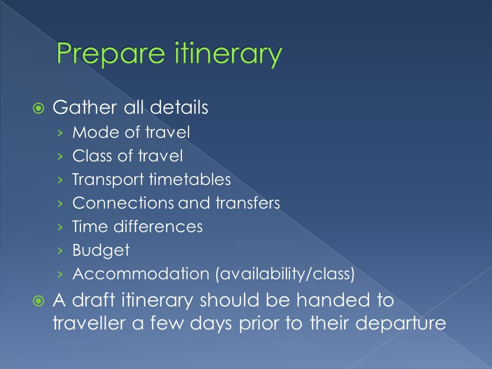 Prepare itinerary Gather all details