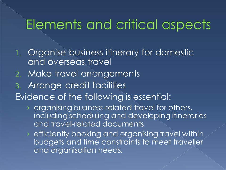 Elements and critical aspects