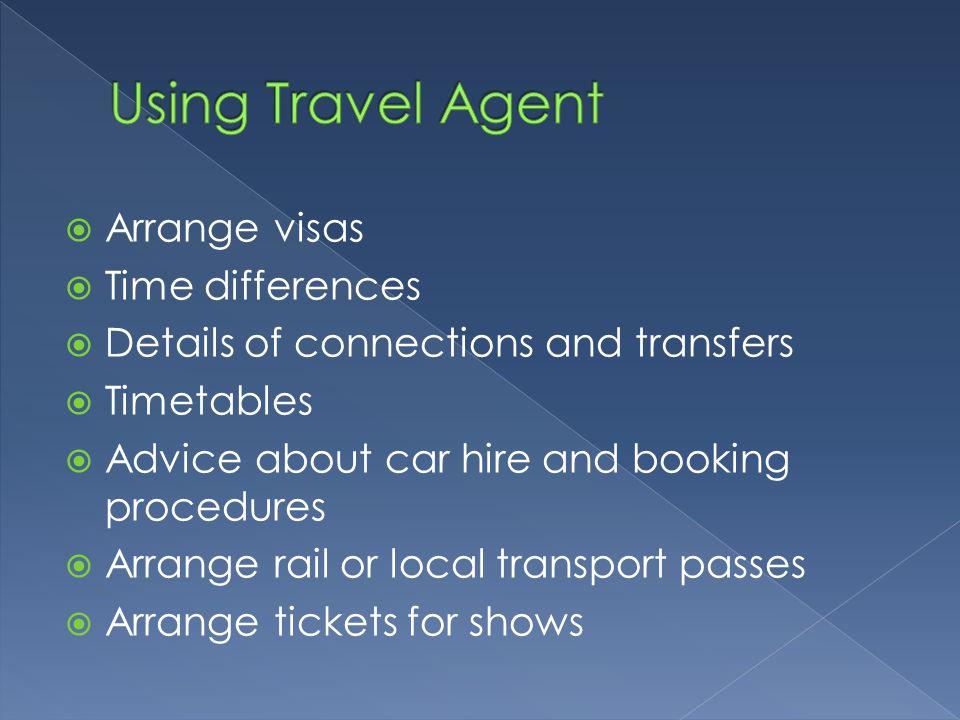 Using Travel Agent Arrange visas Time differences