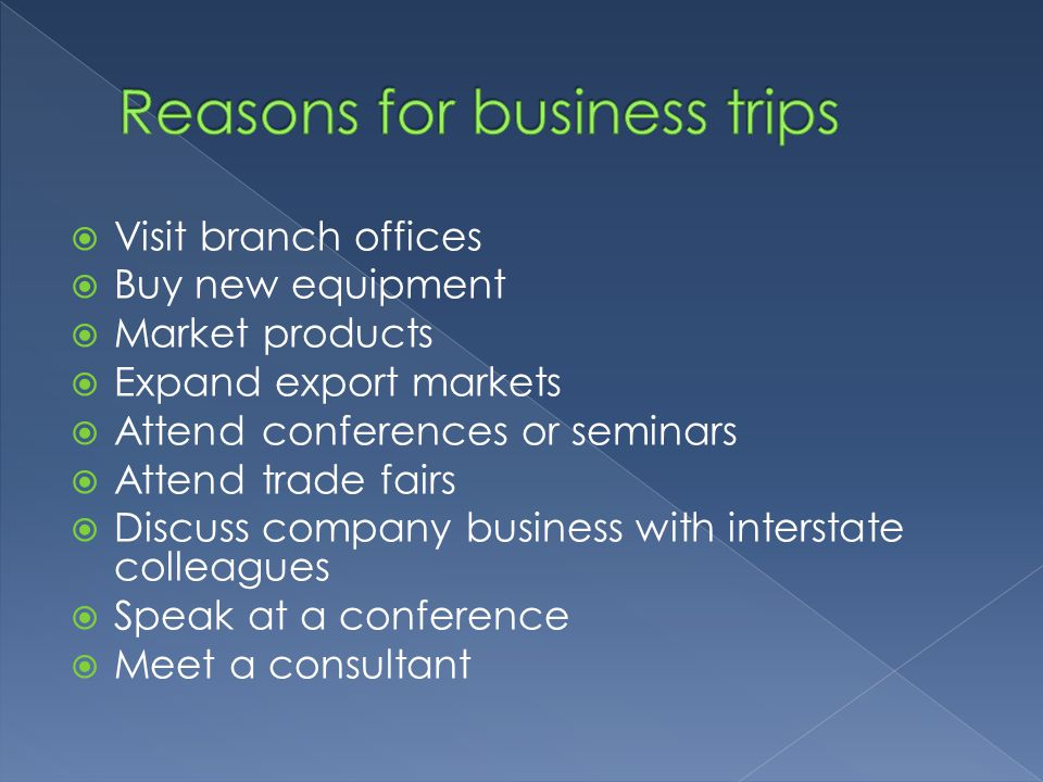 Reasons for business trips