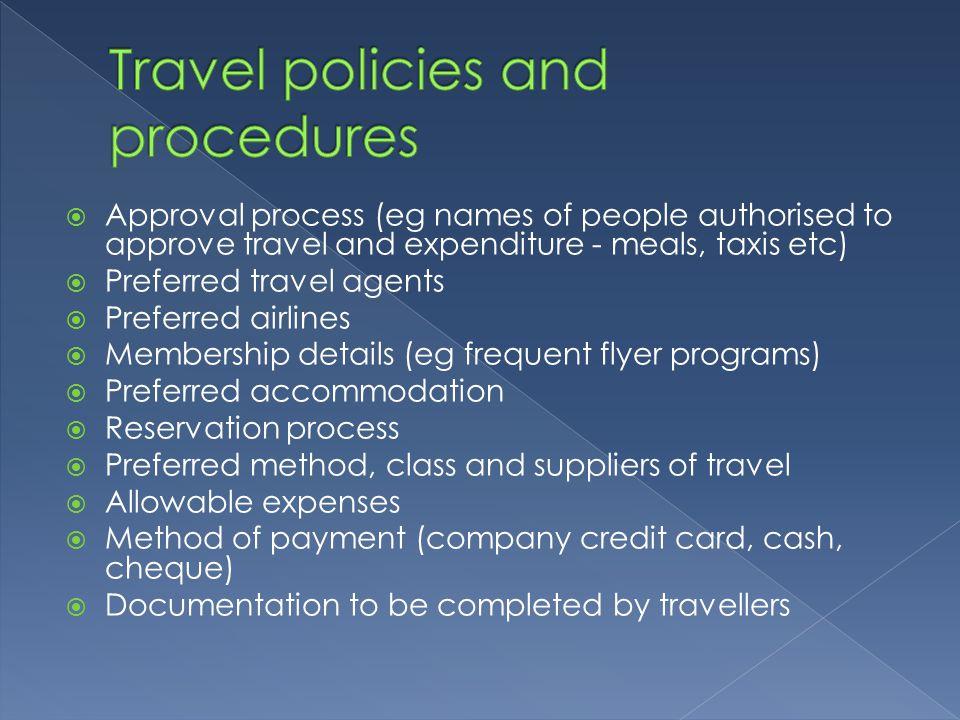 Travel policies and procedures
