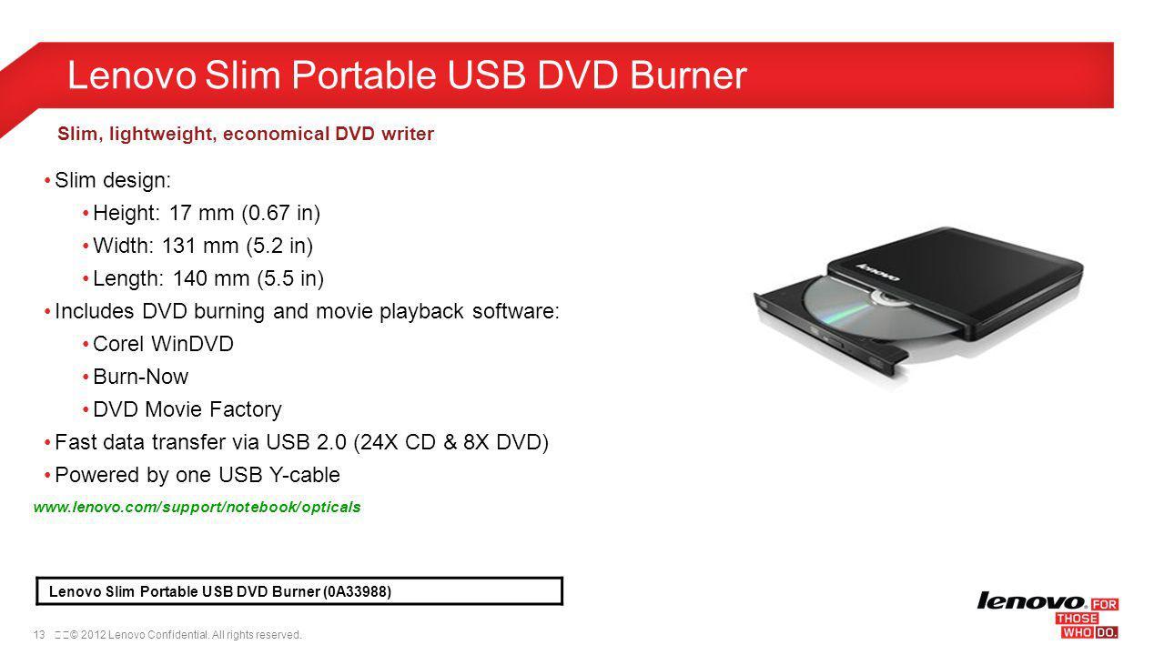 Lenovo Slim Portable USB DVD Burner