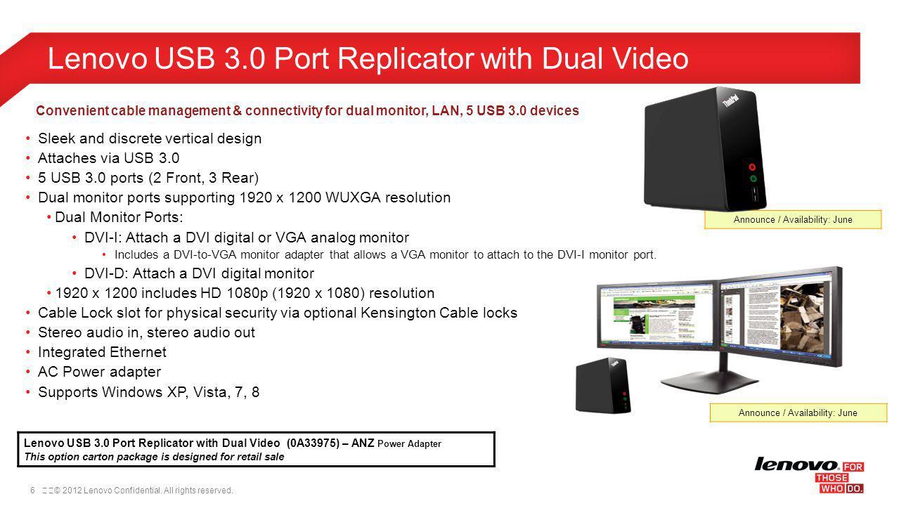 Lenovo USB 3.0 Port Replicator with Dual Video