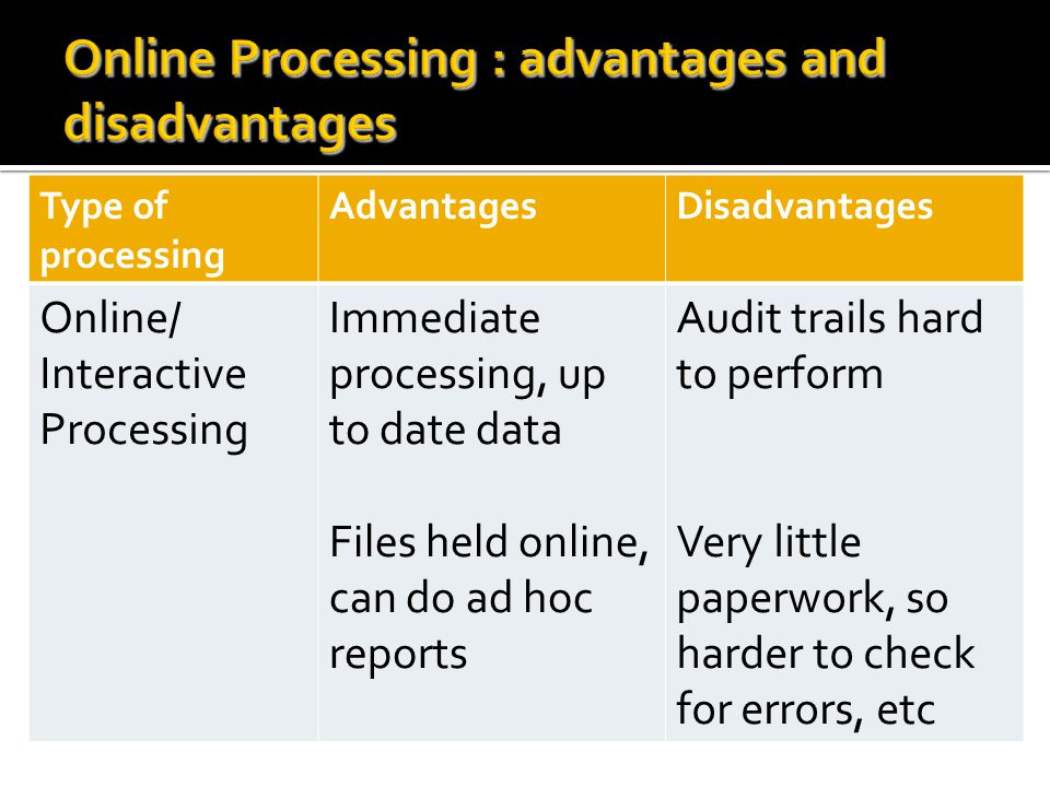 Online Processing : advantages and disadvantages