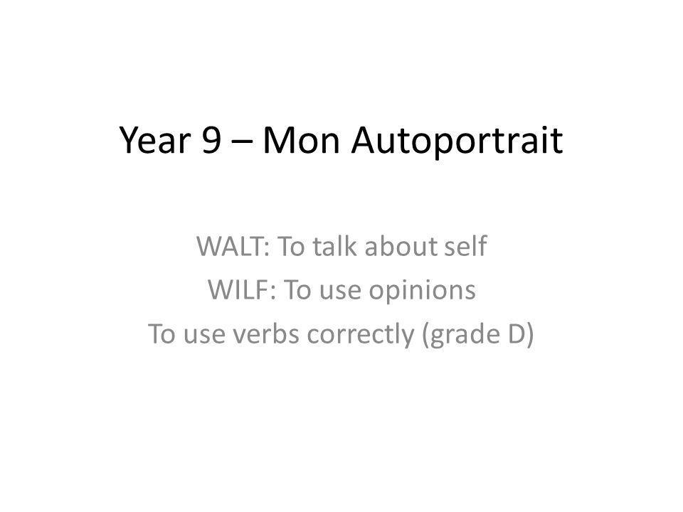 Year 9 – Mon Autoportrait