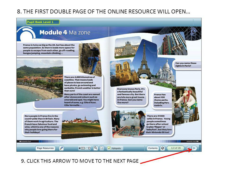 8. THE FIRST DOUBLE PAGE OF THE ONLINE RESOURCE WILL OPEN…