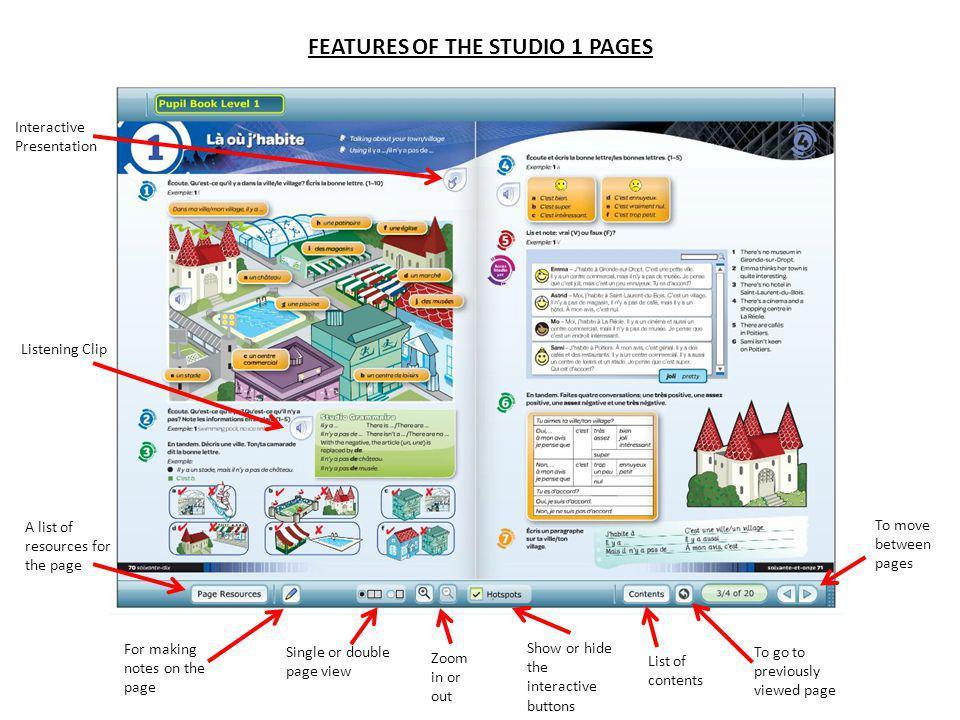 FEATURES OF THE STUDIO 1 PAGES