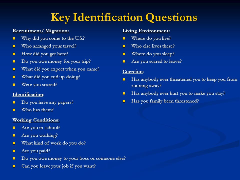 Key Identification Questions