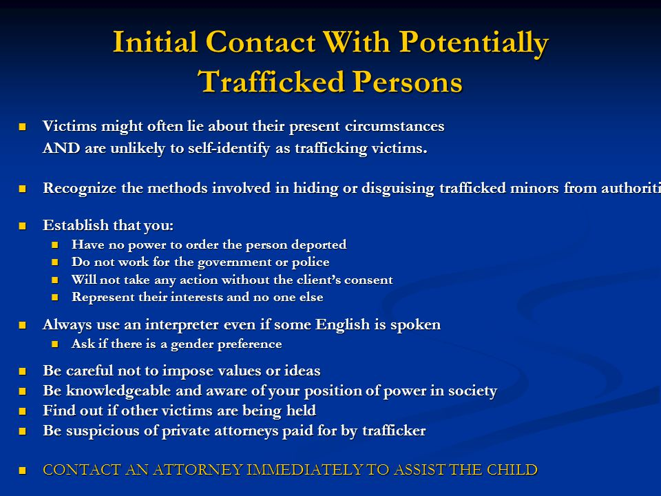 Initial Contact With Potentially Trafficked Persons
