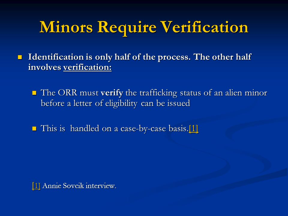 Minors Require Verification