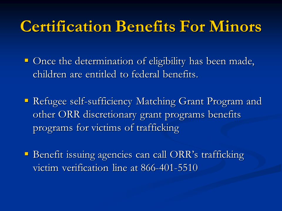Certification Benefits For Minors