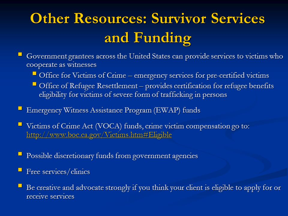 Other Resources: Survivor Services and Funding