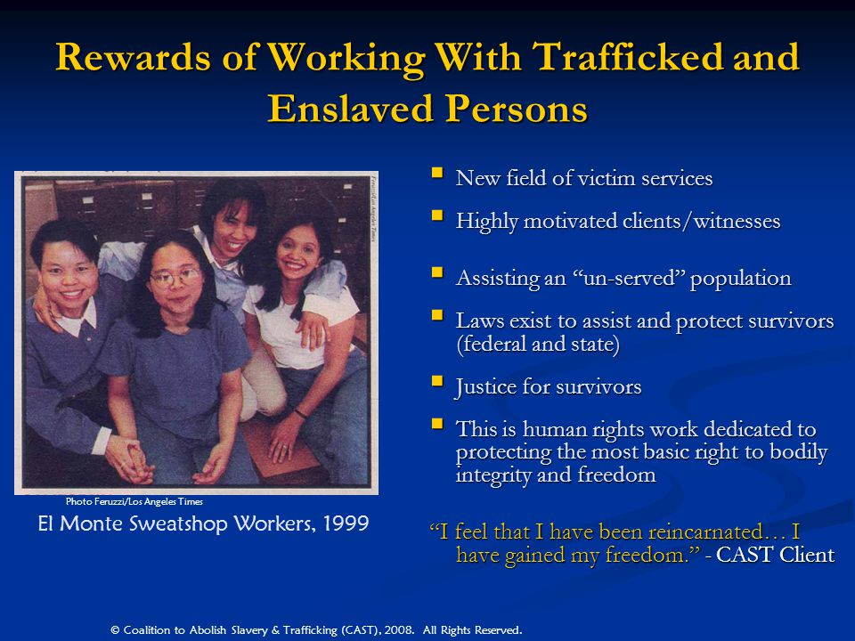 Rewards of Working With Trafficked and Enslaved Persons