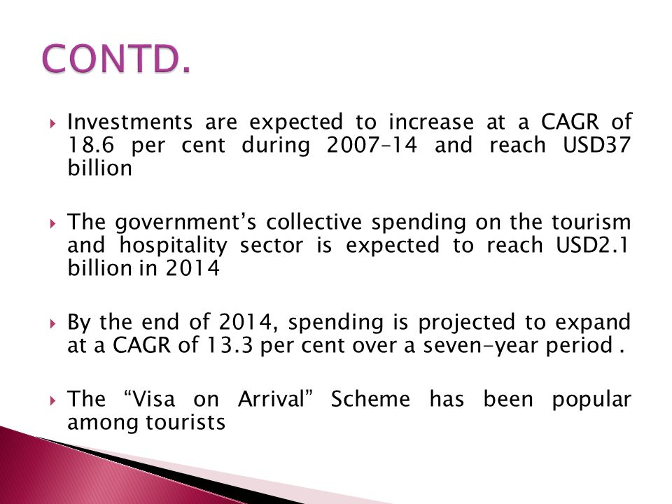 CONTD. Investments are expected to increase at a CAGR of 18.6 per cent during 2007–14 and reach USD37 billion.