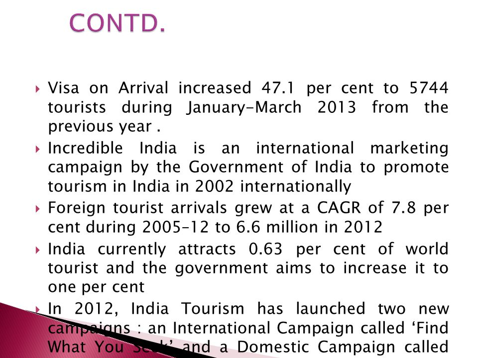 CONTD. Visa on Arrival increased 47.1 per cent to 5744 tourists during January-March 2013 from the previous year .