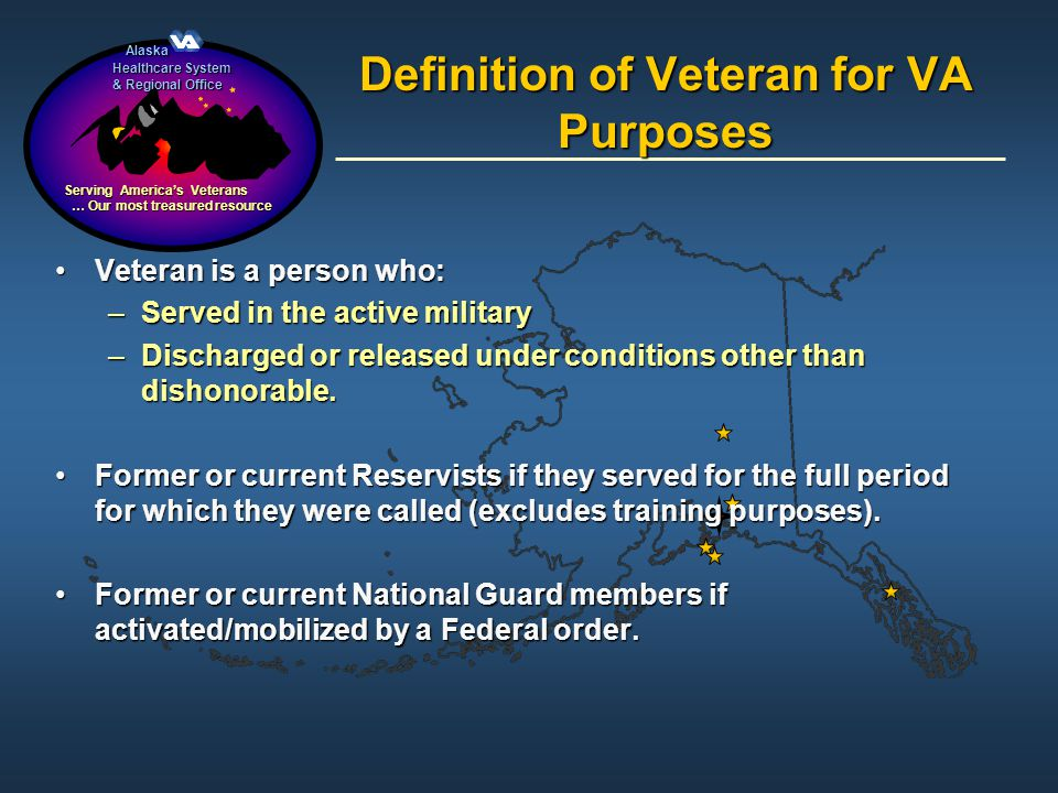 Definition of Veteran for VA Purposes