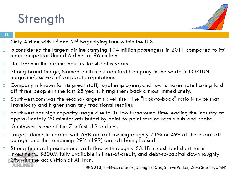 Strength Only Airline with 1st and 2nd bags flying free within the U.S.
