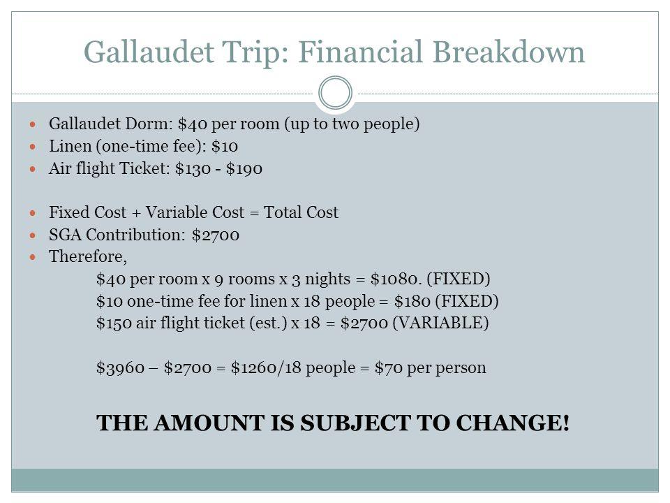 Gallaudet Trip: Financial Breakdown