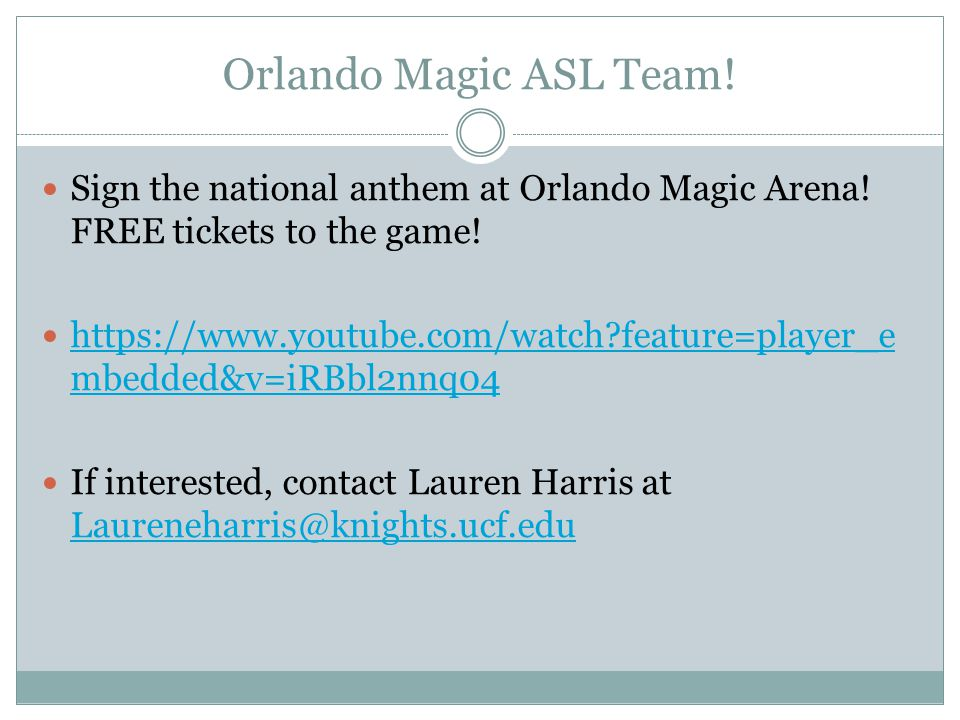 Orlando Magic ASL Team! Sign the national anthem at Orlando Magic Arena! FREE tickets to the game!