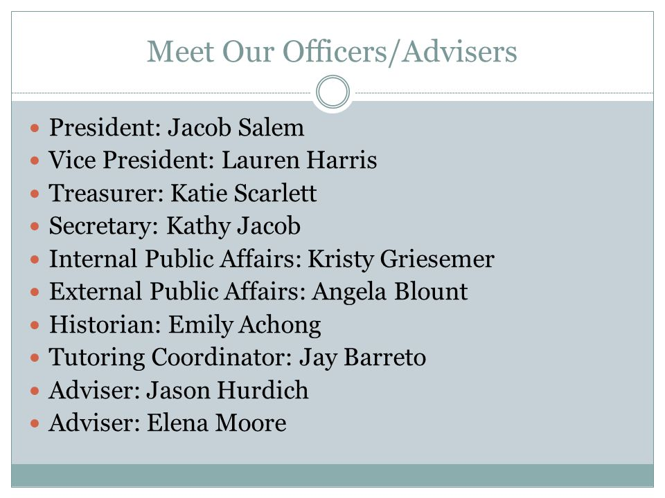 Meet Our Officers/Advisers
