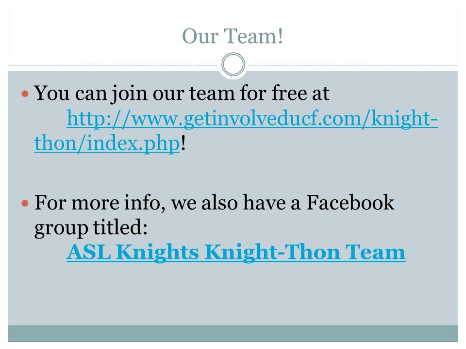 Our Team! You can join our team for free at http://www.getinvolveducf.com/knight-thon/index.php!
