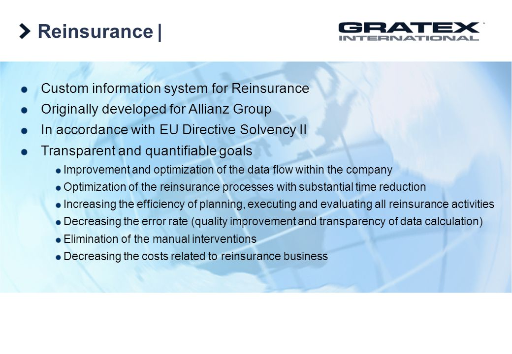 Reinsurance | Custom information system for Reinsurance