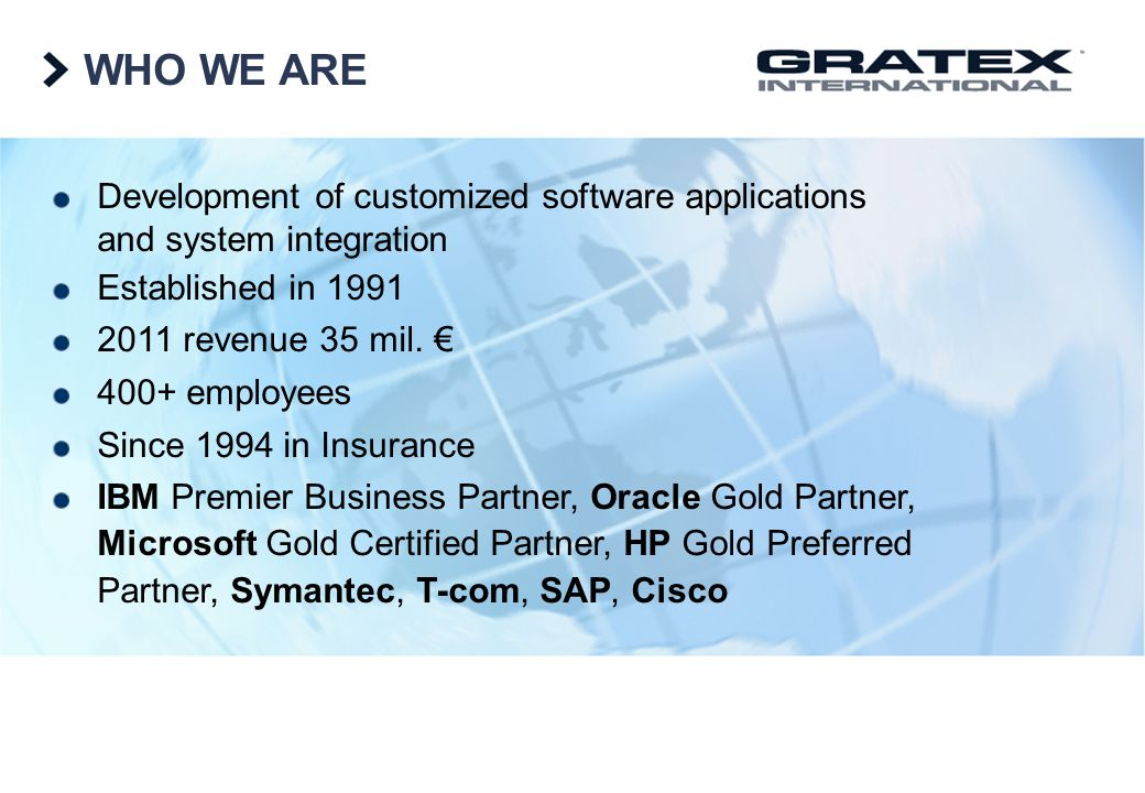 WHO WE ARE Development of customized software applications and system integration. Established in 1991.