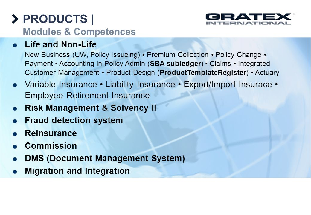 PRODUCTS | Modules & Competences