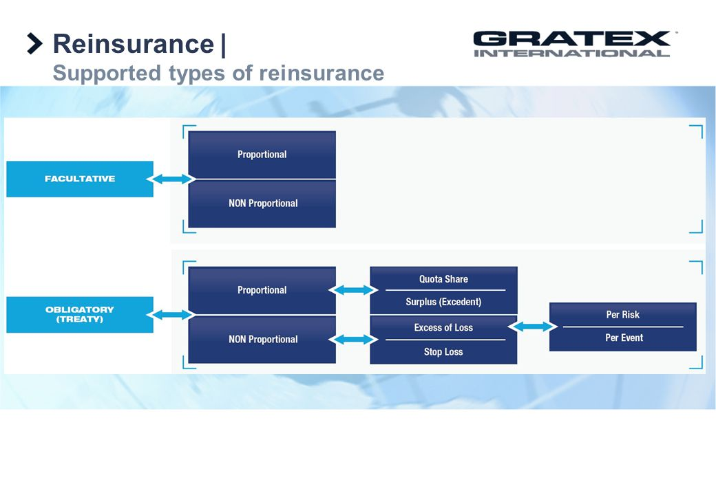 Reinsurance | Supported types of reinsurance