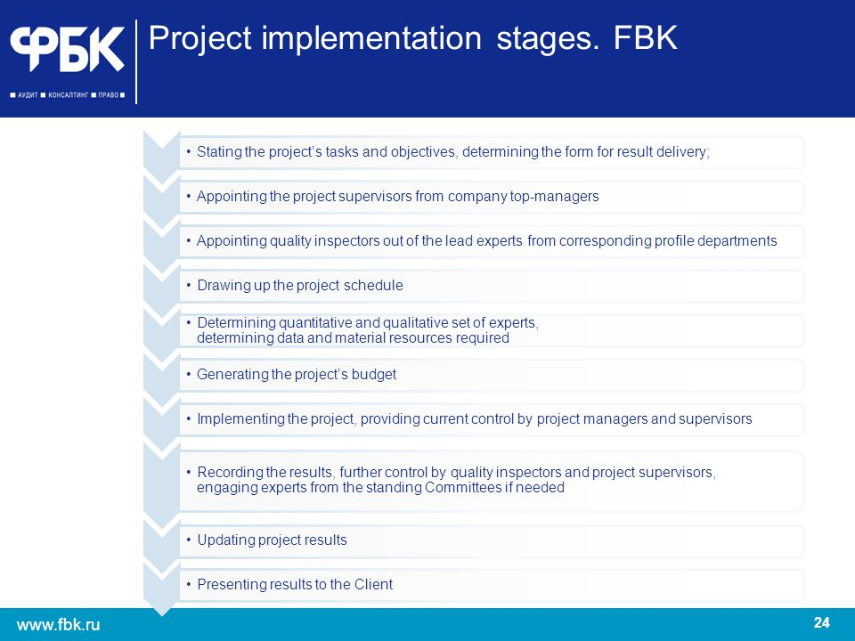 Project implementation stages. FBK