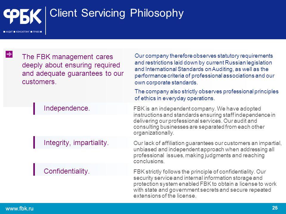 Client Servicing Philosophy