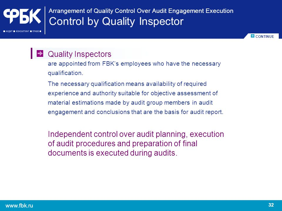 Arrangement of Quality Control Over Audit Engagement Execution Control by Quality Inspector