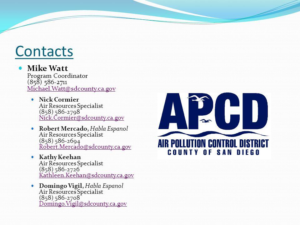 Contacts Mike Watt Program Coordinator (858) 586-2711 Michael.Watt@sdcounty.ca.gov.