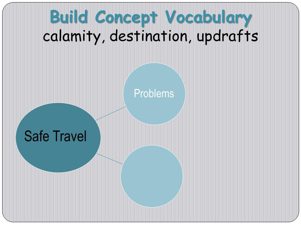 Build Concept Vocabulary calamity, destination, updrafts