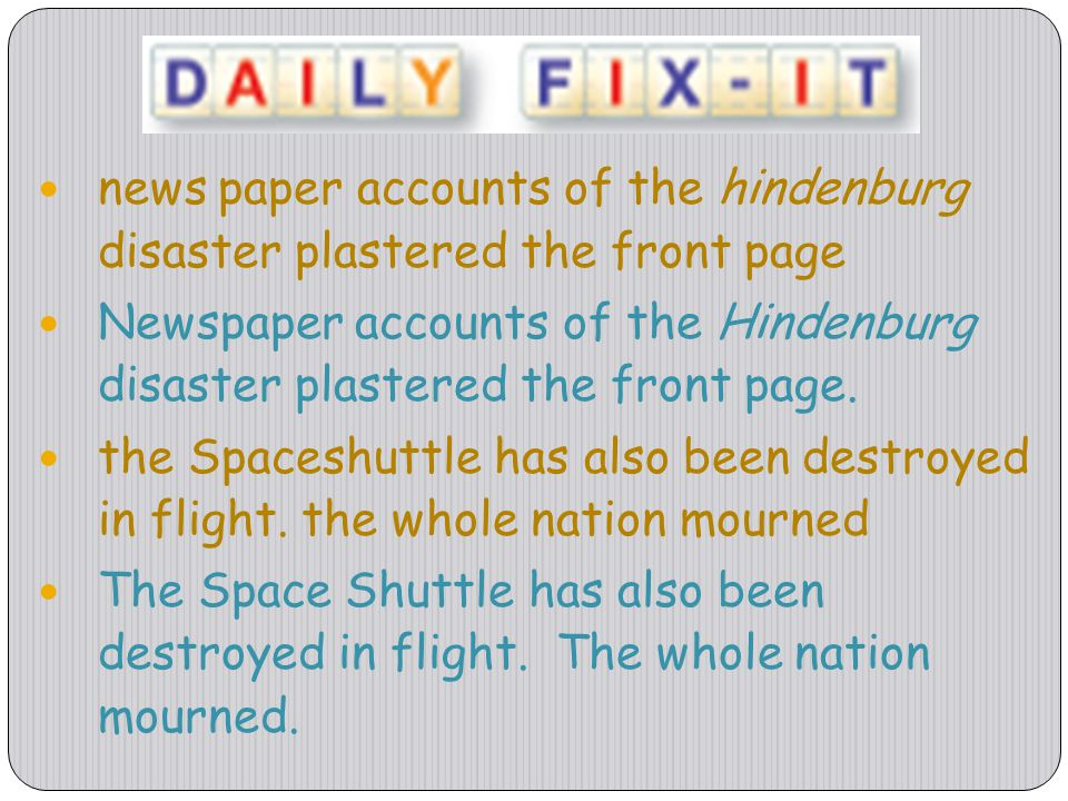 news paper accounts of the hindenburg disaster plastered the front page