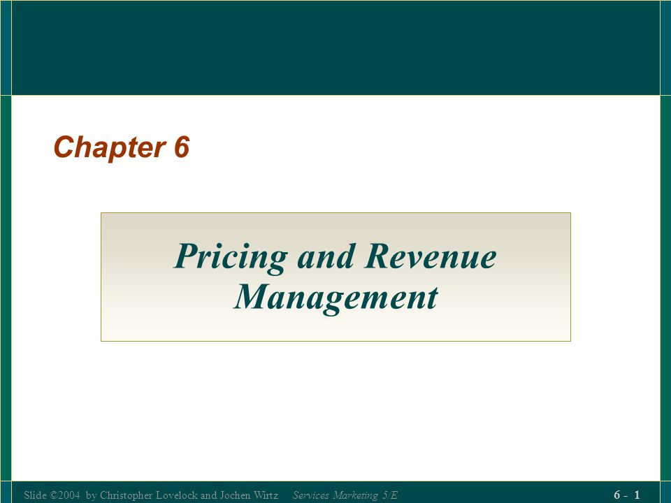 Pricing and Revenue Management